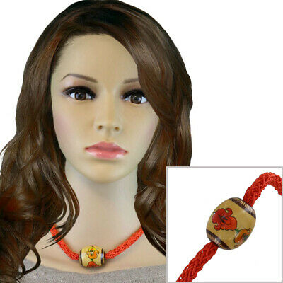 Red Choker Necklace Painted Floral Wood Bead Vintage