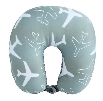 U Shaped Micro-Bead Travel Pillow Neck Back Support Cushion Gray New PRINT