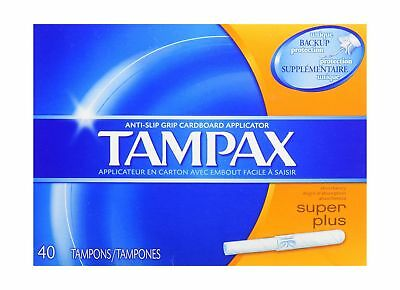 Tampax Super Plus Tampons with Flushable Cardboard Applicator-40 ct 1