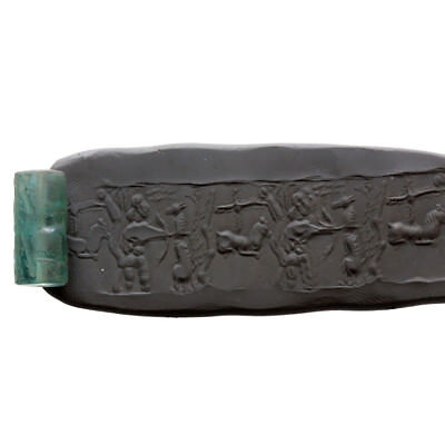 Museum Quality-Bactria Green Stone Bead Seal Circa 300 Bc