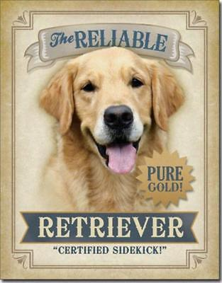 Reliable Retriever Lab Labrador Certified Sidekick Pure Golden Tin Metal Sign
