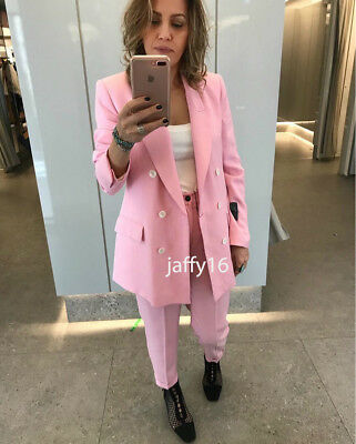 646eafb9 Zara Woman Double-Breasted Blazer Jacket Suit Long Pink Blogger Xs-Xxl 2542/