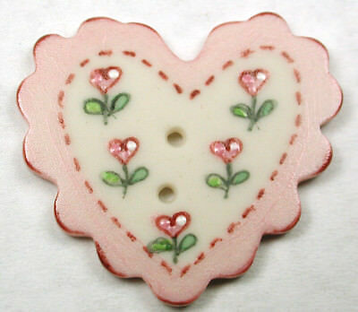 Handcrafted Porcelain Button Heart Lg SZ Scallop Pink Sew Thru  FREE US SHIPPING