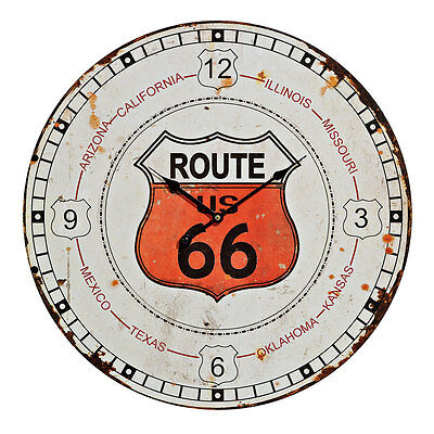 Wall Clock Wood XXL 58cm Round USA Route 66 Vintage Shabby Retro USED LOOK