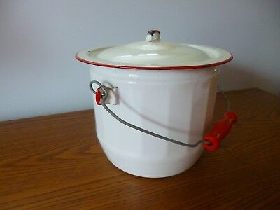 Antique Porcelain Enamelware Pail/chamber Pot-Lid And Handle (Red Trim)