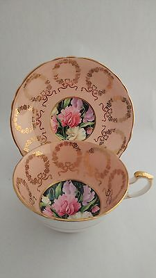 RARE! Paragon Hand Painted A4268 / 10 Flower Center Cup and Saucer Pale Pink
