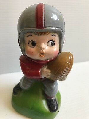 Vintage FOOTBALL PLAYER FIGURINE MONEY BANK MADE IN HONG KONG PLASTIC Ohio state