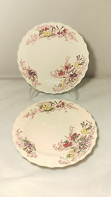 "Copeland Spode Fairy Dell 2 / 8093 Pair of 6 1/8"" Bread and Butter Plates"