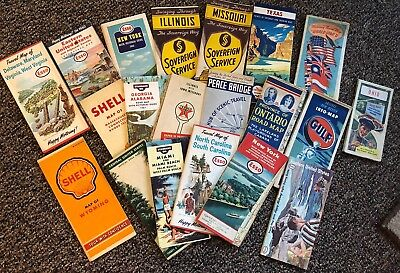 Vintage Lot of 19 Road Maps Standard Esso Shell Gulf Standard Oil Etc
