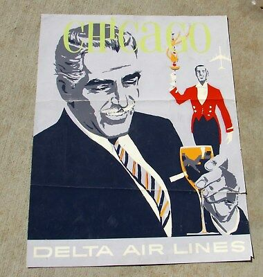 VINTAGE 1960's Delta Airlines Poster CHICAGO by John Hardy, As found, as is