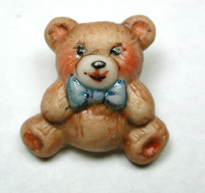 """Handcrafted Porcelain Button Realistic Teddy Bear w Bow FREE US SHIPPING 3/4"""""""