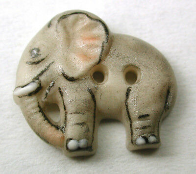 """Handcrafted Porcelain Button Realistic Elephant Small Cute!  5/8"""""""