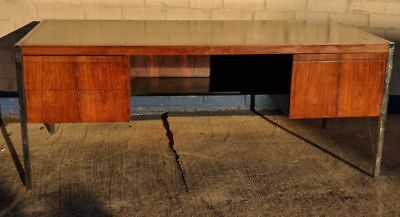 Knoll Rosewood Bar Chrome Inlaid Desk by Richard Schultz