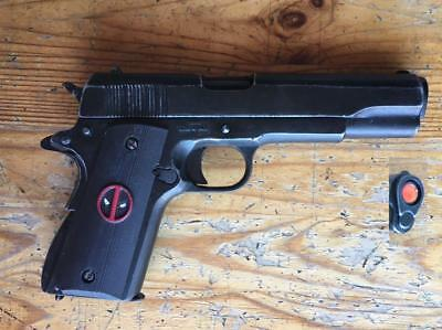 Denix M1911 45 Pistol - Black w/ DEADPOOL grips, Non-Firing Replica, Brand New!