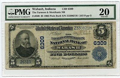 1902 $5 (Fr#598) Plain Back Wabash, Indiana National Currency Note. VF 20 PMG