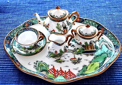 """Crown Staffordshire China"""" Ye Old Willow""""  Miniature Tea Set Mint"""