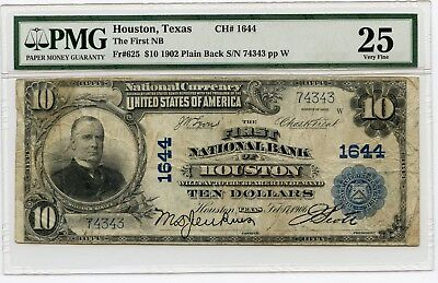 1902 $10 (Fr#625) Plain Back Houston, Texas National Currency Note. VF 25 PMG