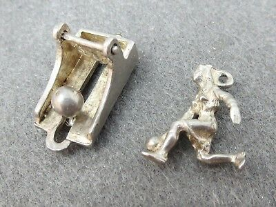 Vintage Silver Bowling Charms -Lot of 2- Bowler & Mechanical Ball Pins 6.0 G