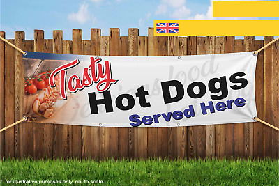 Tasty Hot Dogs sold Here Fast Food Take Away Heavy Duty PVC Banner Sign 3021