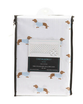 Set of 2 - Dachshund Doxie Sausage Dog Standard Pillow Cases Pillowcases MIP