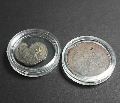 2 genuine Ancient Medieval Islamic pendant Middle East coins w/ cases