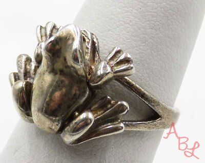 Sterling Silver Vintage 925 Moving Legs Frog Ring Sz 7 (5.4g) - 716204