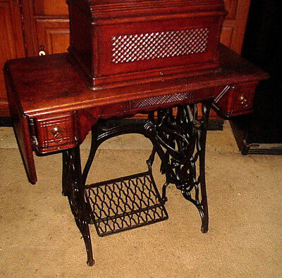 Vintage Antique 1892 Singer Treadle Sewing Machine w/ Cover - Wrought Iron/ Wood