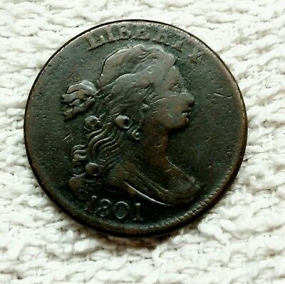 1801 Draped Bust Large Cent Nicer Grade Rare Date Lower Mintage