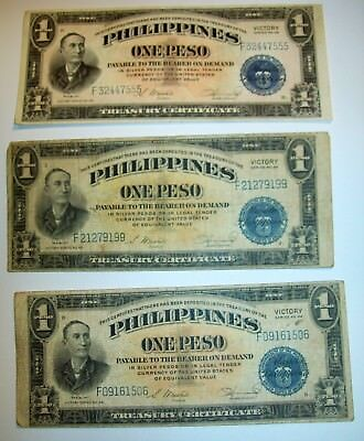 Lot of (3) Victory Series No. 66 Philippines One Peso Note 1944