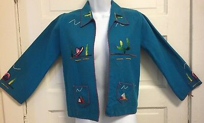 "Vintage 1950's GUILLERMO GUEVARA Mexico EMBROIDERED WOOL JACKET XS 33"" BUST"