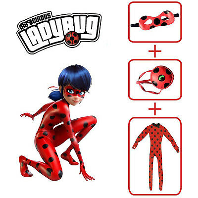 Girls Miraculous Ladybug Cosplay Costume+Mask+Bag Jumpsuit Tight Fancy Dress US