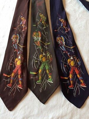 40s Neck Tie Lot of 3 Hand Screened by ARCO Hockey Players Necktie Vtg 1940s Art