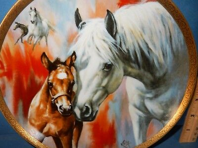 ARABIAN MARE & FOAL RARE COLLECTOR  PLATE horse 1983 KELLY #784 HACKETT