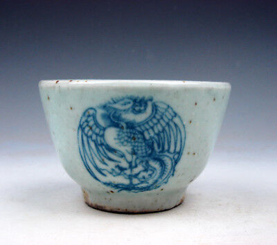 Antique Blue&White Porcelain Dancing Phoenix Peacocks Hand Painted Cup #09201728