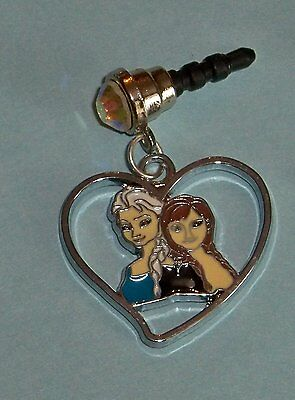 Cell Phone Anti Dust Plug Cover Rhinestone Dangle Charm Frozen Elsa Anna Heart