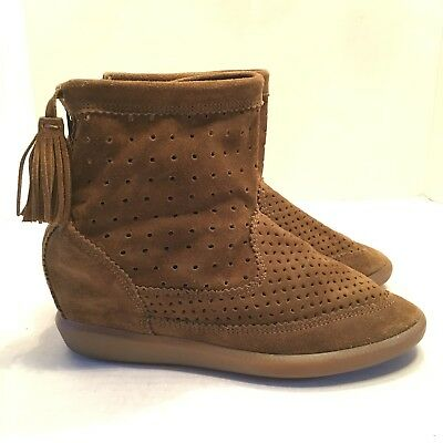 57b78b9cb6c4 Isabel Marant Womens Ankle Bootie 38 Beslay Perforated Suede Tassel Wedge  Boots