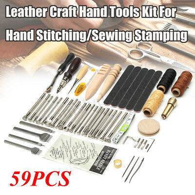 AU 59PCS Leather Craft Hand Tools Kit Stitching Sewing Stamping Punch Carve Work