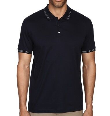 Theory NEW Blue Mens US Size Small S Short-Sleeve Striped Polo Shirt $115 996