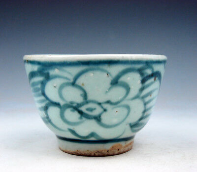 Antique Blue&White Glazed Porcelain Flower Blossoms Hand Painted Cup #09201731
