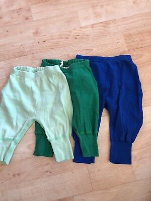 Hanna Andersson 50 x2 60 x1 Wiggle Pants Boy Blue 6-12 Months Lot of 3