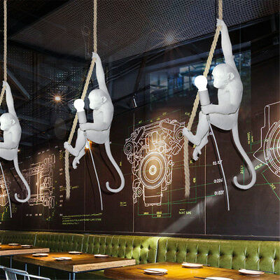 Modern Style Resin Monkey Rope Pendant Light Industrial Ceiling Lamp Chandelier