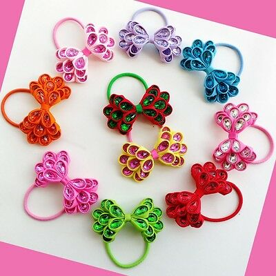 """16 BLESSING Happy Girl Newfashioned Hair Accessories 3.5"""" Crystal Bow Elastic AS"""