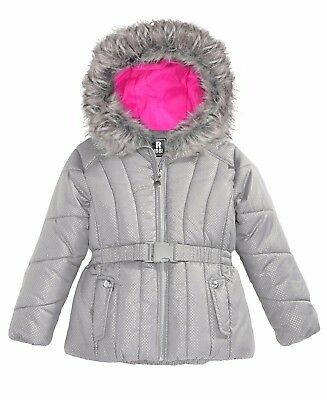 Girls Gray and Pink Puffer Jacket (Size L-14) - S. Rothschild