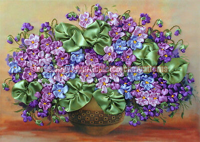 Violets ribbon embroidery DIY kit, wall hanging artwork, room decor