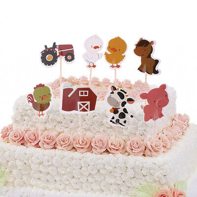 24pcs Set Cartoon Animals Cake Cupcake Toppers Kids Birthday Party Decor