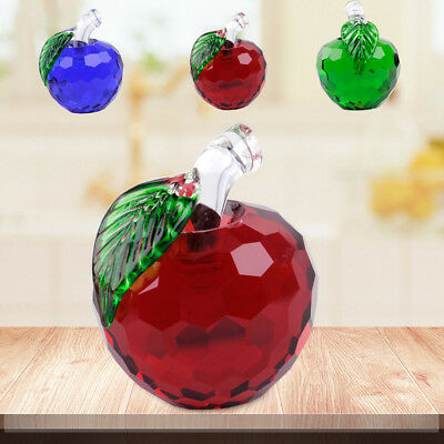Vintage 40mm 3D Apples Figurines Glass Crystal Paperweight Wedding Ornament Gift