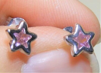 Solid 9Ct 9 Carat White Gold Star Pink Topaz  Stud Earrings