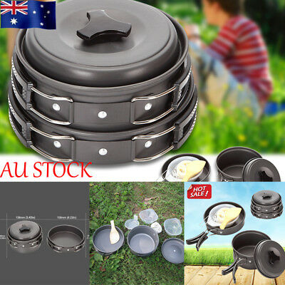 AU Outdoor Camping Travel Cooking Pots Frying Pan Bowl Set Cookware Tableware