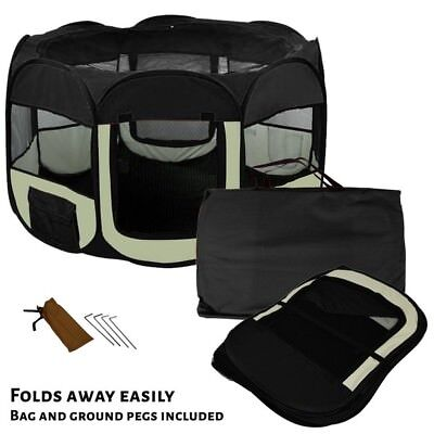 AVC Fabric Foldable Indoor Outdoor Dog Puppy Playpen Black Small Inc Warranty