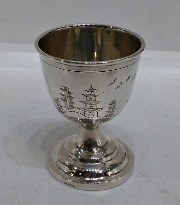 Antique Chinese Export Silver Egg Cup, Engraved Scenes, 'Sterling', Early 20Th C